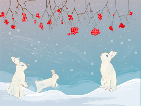 Weihnachtskarte. Winterlandschaft mit Schnee, Preiselbeere und Kaninchen