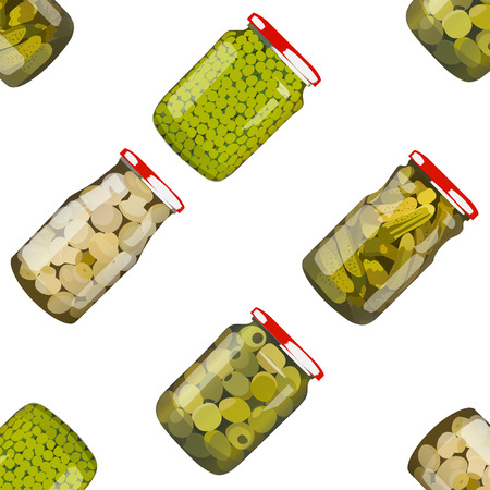 cucumbers: pickles in glass jars. Pickled realistic vegetables in glass. Peas, mushrooms, olives, cucumbers. Colorful Vector illustration. Illustration