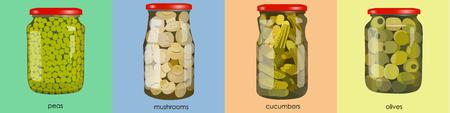 pickles: pickles set in jars. Banner of pickled realistic vegetables. Peas, mushrooms, olives, cucumbers. Colorful Vector illustration.