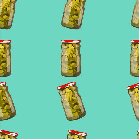 pickled: Pattern pickles in jars. Pickled realistic mushrooms. Colorful Vector illustration.