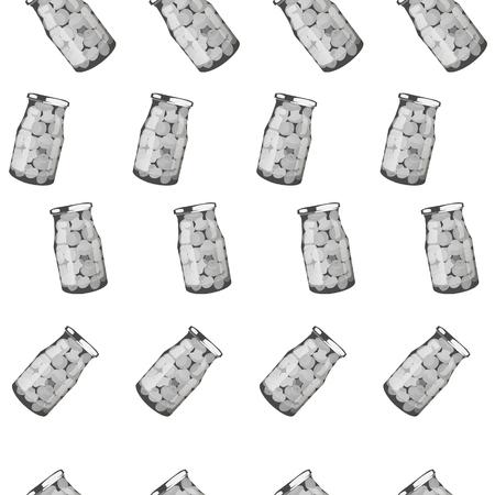 pickles set in jars. Pattern of pickled realistic mushrooms. Vector illustration.
