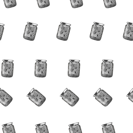 gherkin: pickles in jars. Pattern of pickled realistic olives. Vector illustration.