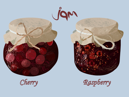 confiture: jam in glass jar. Realistic tasty marmalade. Raspberry and cherry set. Beautiful confiture. Vector illustration. Illustration