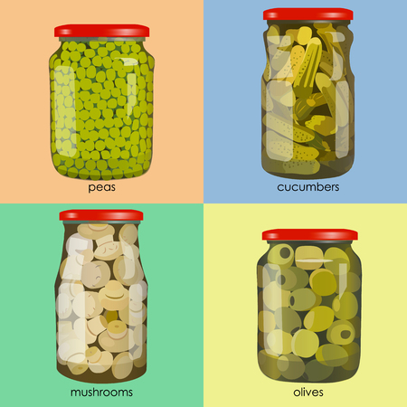 gherkin: pickles set in jars. Pickled realistic vegetables. Peas, mushrooms, olives, cucumbers. Colorful Vector illustration.