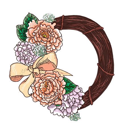 circlet: Peonies circlet of flowers. Hand drawn vintage wreath. Vector