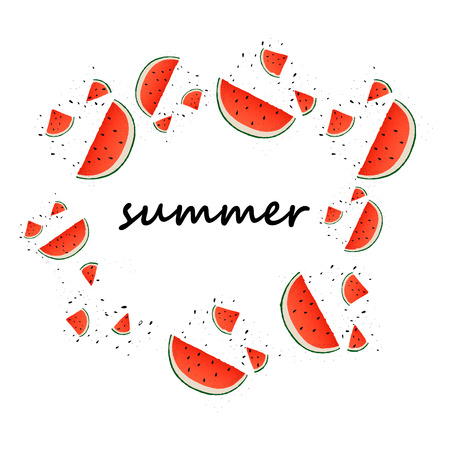 Watermelon slices background. Vector summer background with hand drawn slices of watermelon. Vector.