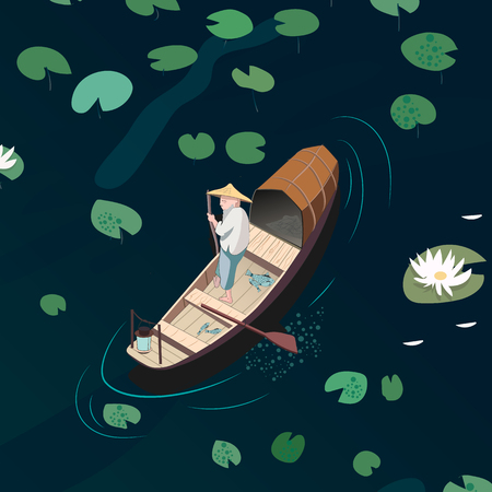 fisher man: Eastern traditional fishing. Fishermen in a boat catching fish on the lake with water lilies. Illustration