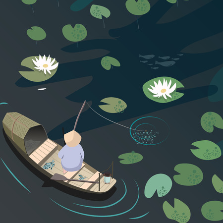 water lilies: Eastern traditional fishing. Fishermen in a boat catching fish on the lake with water lilies. Illustration