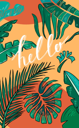 malibu: Tropical hand drawn background with hand lettering Hello. Tropic leaves. Vector Illustration