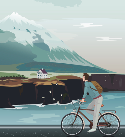 high road: Landscape with a high mountain, cute house and north sea. Man on bicycle riding on road. Norway mountain view. Vector illustration