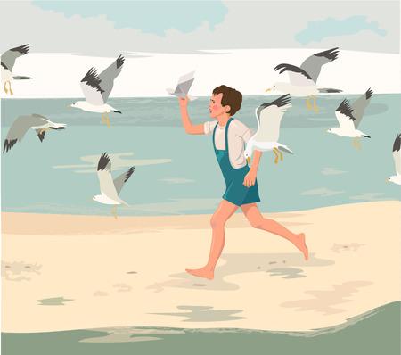 illustraton: Happy childhood postcard. Cartoon boy running on the beach. Vector illustraton. Illustration