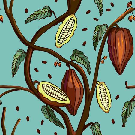 Kakao-Muster. Nahtlose Hintergrund der Kakaobaum mit Bohnen und Blätter. Vektor-Illustration Vektorgrafik