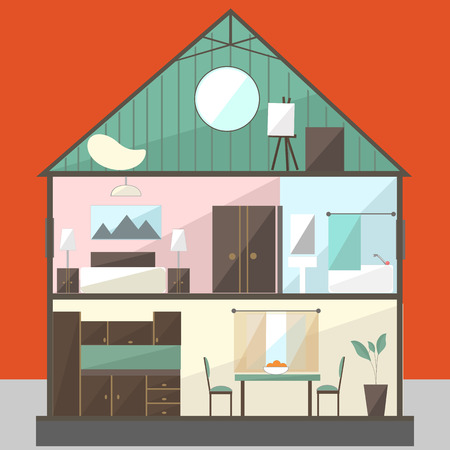penthouse: Cut in house interiors. Vector Illustration