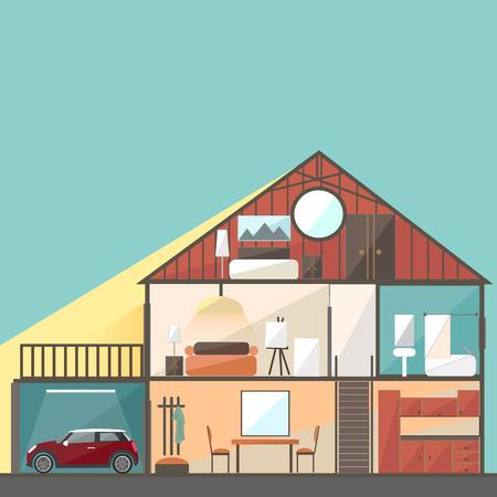 penthouse: Cut in house interiors. Vector illustration Illustration