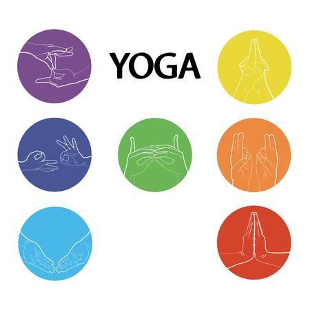 yogic: Hand in yoga mudra. Vector illustration. Yogic hand gesture.