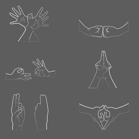 budda: Hand in yoga mudra. Vector illustration. Yogic hand gesture.