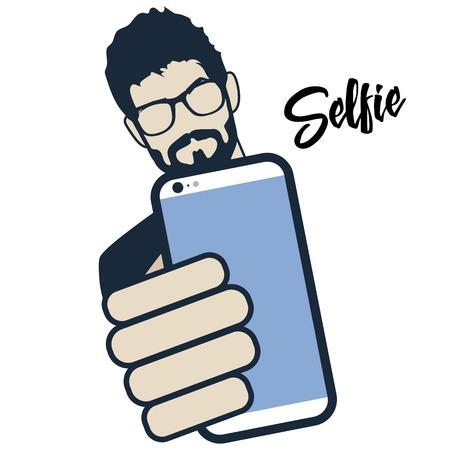 hair do: Guy taking self photo. Hipster do selfie. Mustache, Beard and Hair Style. Illustration