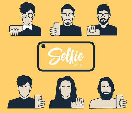 hair do: Guys taking self photo - icons set. Hipsters do selfie. Mustache, Beard and Hair Style.