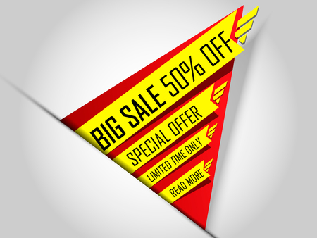 50  off: Sale banner template. Super offer, limited time only. Big Sale 50 off. Special Discount.