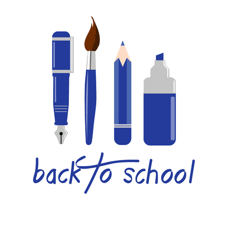 pen and marker: Back to school background. Items for drawing. Pen, marker, brush, pencil. School supplies.