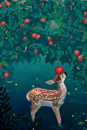 wilds: Young deer.  small lake with apple thickets. Nature scene. illustration
