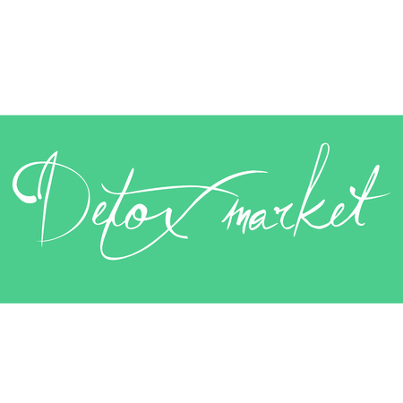 starvation: Detox market. The  calligraphy. The concept of healthy shop. Dietary store. illustration Stock Photo
