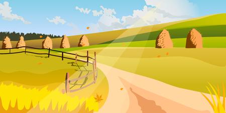 rural scene: Autumn Landscape. Rural scene. Harvest. illustration.