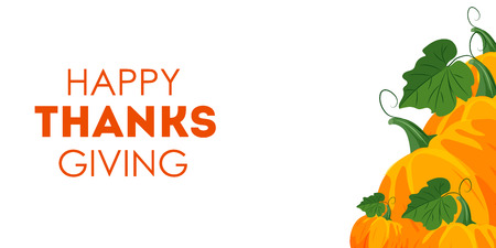 Banner for thanksgiving day with orange pumpkins. illustration