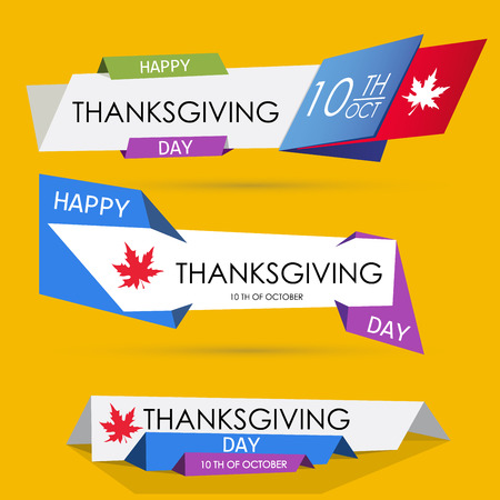 thanks giving: Set of Thanksgiving origami web banners. Canadian Thanks Giving Day. Label, banner, flyer or sticker template. Vector illustration