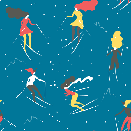 skiers: Winter seamless pattern with skiers. Cartoon girls skiing. Background great for wrapping paper and wallpapers.