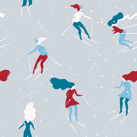 Winter seamless pattern with skiers. Cartoon girls skiing. Background great for wrapping paper and wallpapers.