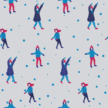 snowy hill: Winter seamless pattern with cartoon girls. Young girls dancing on a snowy hill. Christmas time. Funny and simply cute pattern. Vector Stock Photo