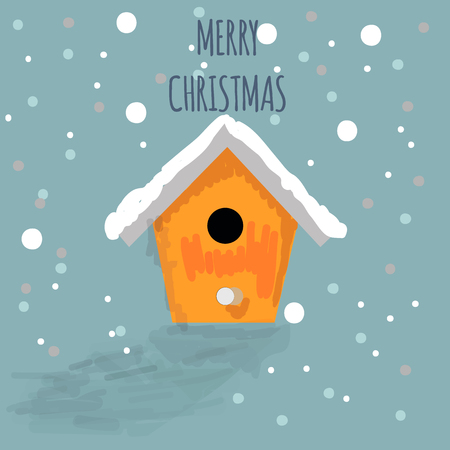 nesting box: Merry Christmas background. Hand drawn snow nesting box. Vector illustration
