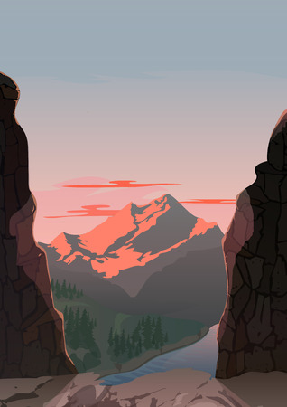 moutain: Vector cartoon illustration of mountain landscape. For design game, websites and mobile phones, printing. Illustration