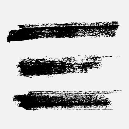 Ensemble de peinture noire, pinceaux à l'encre, brosses, lignes. Aspects de conception artistique sale