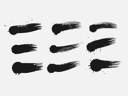 Ensemble de peinture noire, pinceaux à l'encre, brosses, lignes. Élément de conception artistique sale Vecteurs