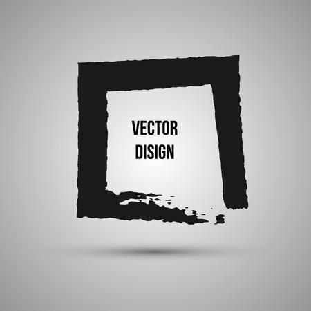 Hand drawn shape. Label,  design element. Brush abstract frame. Vector illustration.