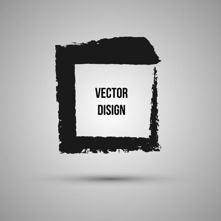 Hand drawn shape. Label, logo design element. Brush abstract frame. Vector illustration.