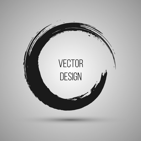 Hand drawn circle shape. Label,  design element, frame. Brush abstract wave. Vector illustration.