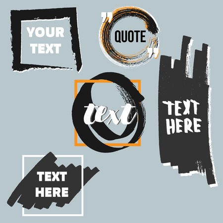 rectangle: Vector quote boxes collection. Hand drawn frames, square, rectangle and round . Grunge brush strokes texture.