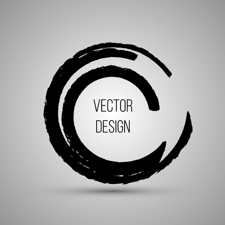 enso: Hand drawn circle shape. Label,   design element, frame. Brush abstract wave. Vector illustration. Stock Photo