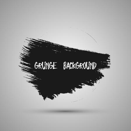 Black grunge design element, box, frame for text. Hand drawn brush strokes. Illustration