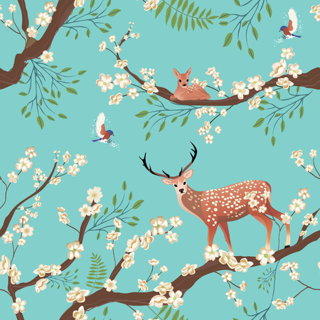 Seamless background of Sakura blossom or Japanese flowering. Flying birds and Sika deer staing on tree brunch. Ilustração