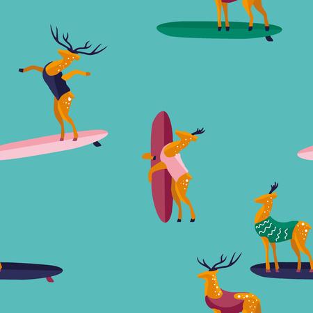 Summer seamless pattern. Funny cartoon deer surfer in swimsuit. Flat style illustration. Summer beach surfing illustration. Illustration
