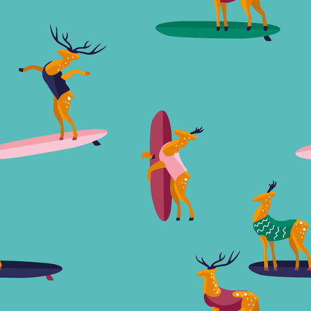 Summer seamless pattern. Funny cartoon deer surfer in swimsuit. Flat style illustration. Summer beach surfing illustration. Illustration
