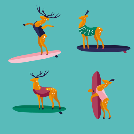 swell: Funny cartoon deers on surfboard in swimsuit. Characters flat style illustration. Summer beach surfing.