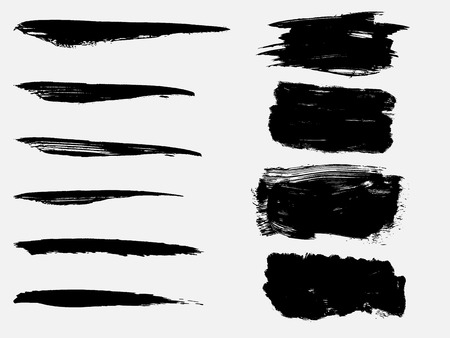 Set of black paint, ink brush strokes, brushes, lines. Dirty artistic design element Vectores