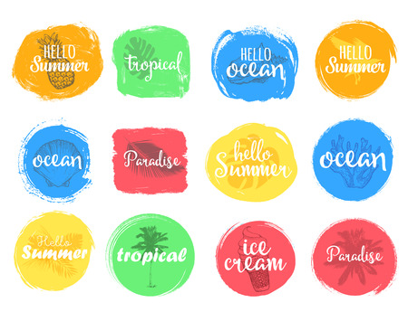 brigt: Set of colorful universal use circles, signs, badges, stickers, backgrounds for advertising, text, business, promotion. Summer hand written lettering. Illustration