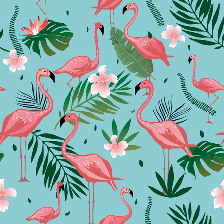 Pink Flamingo seamless pattern with tropical leaves and flowers. Vector background design with flamingos for wallpaper, fabric, textile.