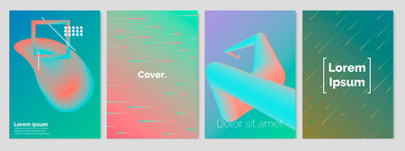 Gradient covers set. Fluid shape and Geometrical shapes composition. Futuristic design posters. Future Poster template. Vector Eps 10